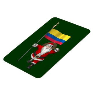Weihnachtsmann mit Fahne von Kolumbien Magnet