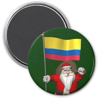 Weihnachtsmann mit Fahne von Kolumbien Runder Magnet 7,6 Cm
