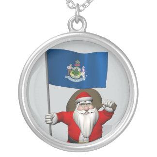 Weihnachtsmann mit Fahne von Maine Versilberte Kette