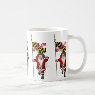 Weihnachtsmann mit Fahne von Maryland Kaffeetasse