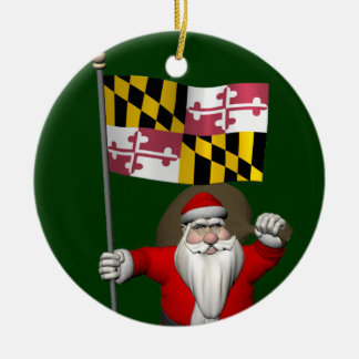 Weihnachtsmann mit Fahne von Maryland Keramik Ornament