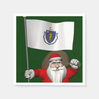 Weihnachtsmann mit Fahne von Massachusetts Serviette