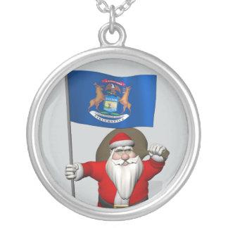 Weihnachtsmann mit Fahne von Michigan Versilberte Kette