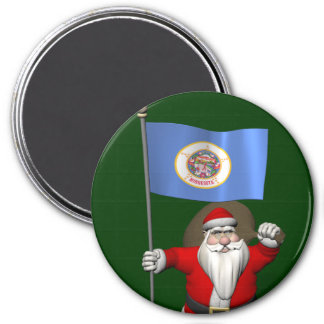 Weihnachtsmann mit Fahne von Minnesota Runder Magnet 7,6 Cm