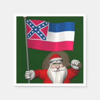 Weihnachtsmann mit Fahne von Mississippi Papierserviette