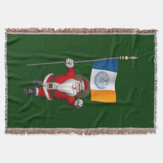 Weihnachtsmann mit Fahne von New York City Decke