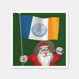 Weihnachtsmann mit Fahne von New York City Papierserviette