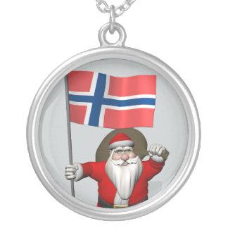 Weihnachtsmann mit Fahne von Norwegen Versilberte Kette