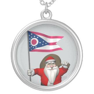 Weihnachtsmann mit Fahne von Ohio Versilberte Kette