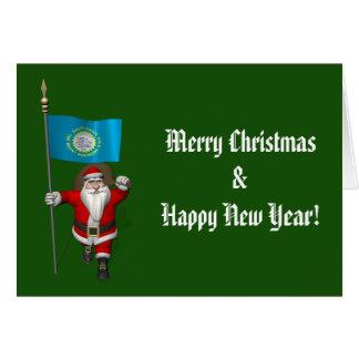 Weihnachtsmann mit Fahne von South Dakota Karte