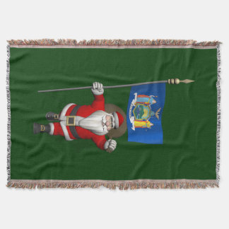 Weihnachtsmann mit Fahne von Staat New York US Decke