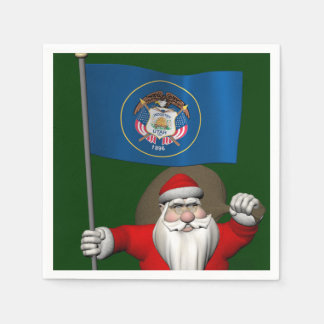 Weihnachtsmann mit Fahne von Utah Serviette