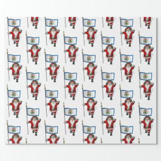 Weihnachtsmann mit Fahne von West Virginia Geschenkpapier