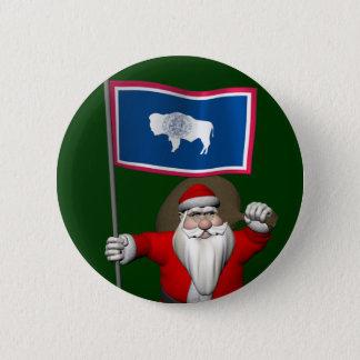 Weihnachtsmann mit Fahne von Wyoming Runder Button 5,1 Cm