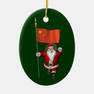 Weihnachtsmann mit Flagge der China Keramik Ornament
