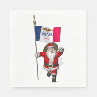 Weihnachtsmann mit Flagge von Iowa Serviette