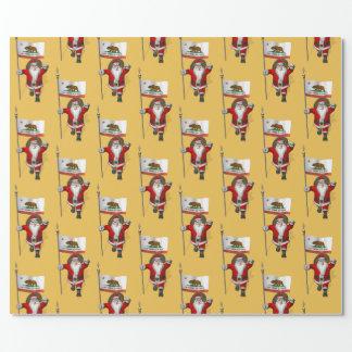 Weihnachtsmann mit Flagge von Kalifornien Geschenkpapier
