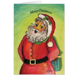 Weihnachtsmann mit Geschenken und Segen! Karte