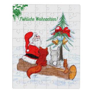 Weihnachtsmann mit Kaninchen Fox und Eichhörnchen Puzzle