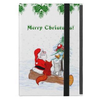 Weihnachtsmann mit KaninchenFox und Eichhörnchen Etui Fürs iPad Mini