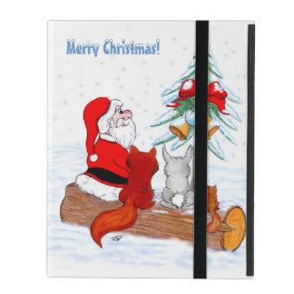 Weihnachtsmann mit KaninchenFox und Eichhörnchen iPad Schutzhülle