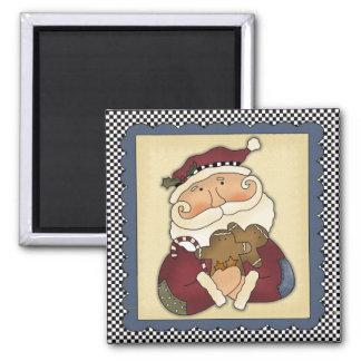 Weihnachtsmann mit Lebkuchen-Weihnachtsmagneten Quadratischer Magnet