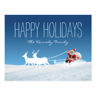 Weihnachtsmann mit Pferdeschlitten Postkarte