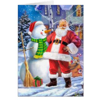 Weihnachtsmann mit Schneemann Karte
