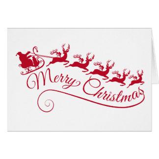 Weihnachtsmann mit seinem Pferdeschlitten und Ren Karte