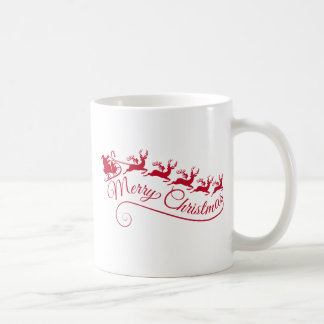 Weihnachtsmann mit seinem Pferdeschlitten und Ren Tasse