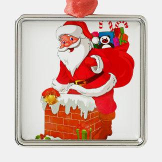 Weihnachtsmann Quadratisches Silberfarbenes Ornament