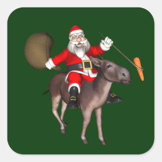 Weihnachtsmann-Reiten auf Esel Quadratischer Aufkleber