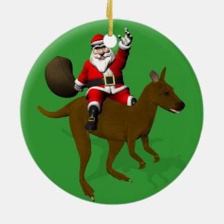Weihnachtsmann-Reiten auf Känguru Keramik Ornament