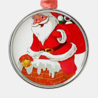 Weihnachtsmann Rundes Silberfarbenes Ornament