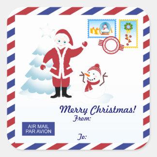 Weihnachtsmann-snail mail quadratischer aufkleber
