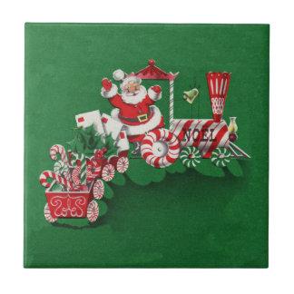 Weihnachtsmann-Süßigkeits-Zug Kleine Quadratische Fliese