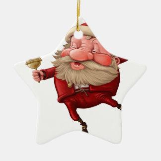 Weihnachtsmann und das Tanzen der Glocke Keramik Stern-Ornament