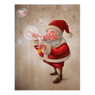 Weihnachtsmann und die Blasenseife Postkarte