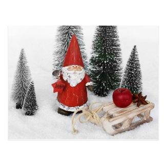 Weihnachtsmann und die Schlittenpostkarte Postkarte