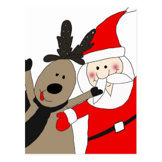 Weihnachtsmann und lustiges Ren Postkarte