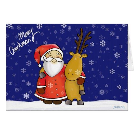 Weihnachtsmann und Rentier Karte
