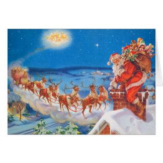 Weihnachtsmann und sein mächtiges Ren Karte