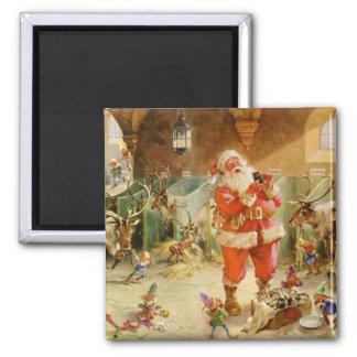 Weihnachtsmann und seine Elfe im Ren-Stall Magnets