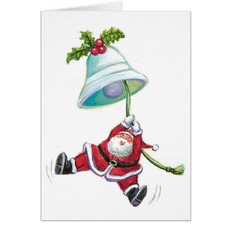 Weihnachtsmann-und Weihnachtsbell-Gruß-Karte Karte