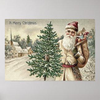Weihnachtsmann-Weihnachtsbaum-Sack der Poster