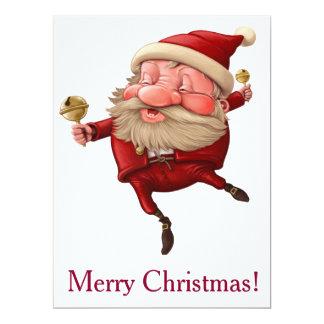 Weihnachtsmann-Weihnachtsglockentanzen 16,5 X 22,2 Cm Einladungskarte