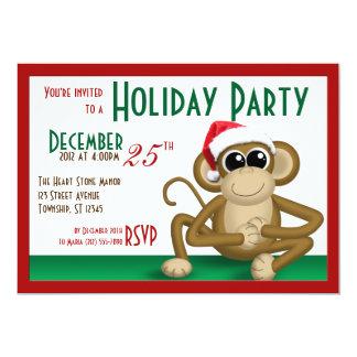 """Weihnachtsmannmütze-Affe 7"""""""" Party Einladungen des 12,7 X 17,8 Cm Einladungskarte"""