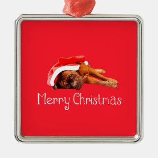 Weihnachtsmannmütze-frohe Weihnachten Dogue De Silbernes Ornament