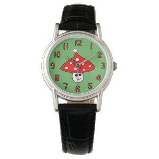 Weihnachtsmannmütze-Pilz-Uhr (Erwachsener) Uhr