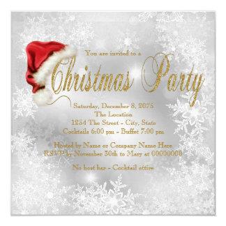 Weihnachtsmannmütze-Schneeflocke-WeihnachtsParty Quadratische 13,3 Cm Einladungskarte